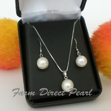 Genuine AAA White Pearl Pendant Necklace Earrings SET Sterling Silver Freshwater