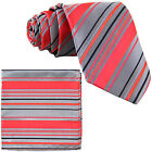New Men's Poly Woven Neck Tie & Pocket Square Hankie Set Coral/ Gray / Navy