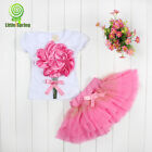 Summer Kids Girls Princess Pageant Flower Bow Tulle Dress Baby Party Tutu Dress