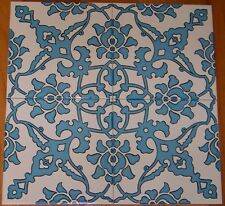 "Light Blue 16""x16"" Turkish Ottoman Iznik Floral Pattern Ceramic Tile Set"