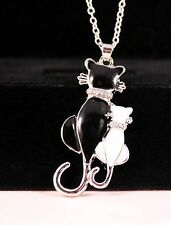 Black/White Cats Rhinestone Pendant Necklace w/Free Jewelry Box and Shipping