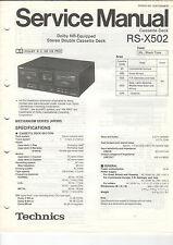 TECHNICS service manual istruzioni rs-x502 b1155