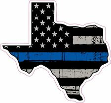 Thin Blue Line Police Texas US Flag Distressed Vinyl Sticker Decal 4 inch