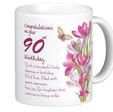 90th Birthday Gift Mug With Pink Crocus And Lovely Verse