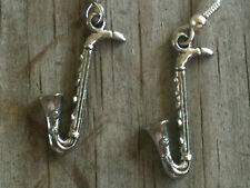 Saxophone 3D Silver Plated Lead Free Pewter Music Earrings