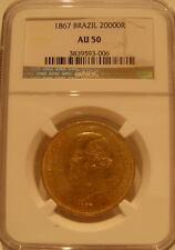 Brazil 1867 Gold 20000 Reis NGC AU-50 Pedro 2