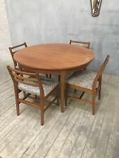 Retro Nathan Teak dining table and 4 chairs - Round Extender Great Condition