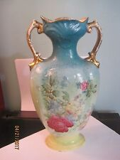 "Empire Works Porcelain 10"" Vase Marked Made in England GREEN   FLORAL"