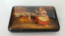 Authentic Fedoskino Russian Hand Painted Lacquer Box Teaching Dolls