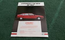 August 1984 / 1985 CITROEN BX 19 GT - UK BROCHURE K1901 + K1930 ERRATA SHEET