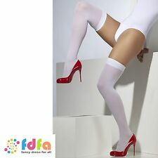 WHITE OPAQUE HOLD UPS STOCKINGS OVER THE KNEE 10-16 ladies fancy dress hosiery