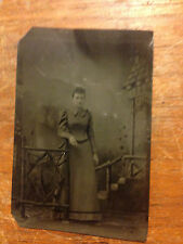 Vintage Tin Type Photo - Young Woman Near Stairs