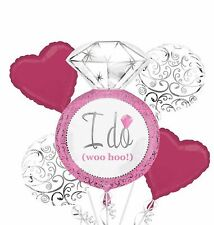 Hot Pink Silver I DO Wedding Ring 5-pc Bouquet Balloon Engagement Bridal Shower~