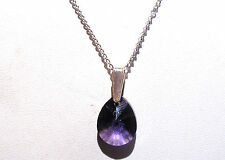 "'AAA' GRADE PURPLE CRYSTAL GLASS TEARDROP PENDANT 18"" SILVER PLATED  CHAIN"