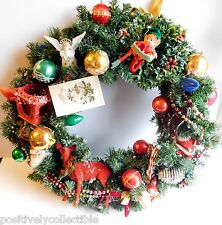 """Hand Crafted Vintage Ornament Christmas Wreath 22"""" in Diameter"""