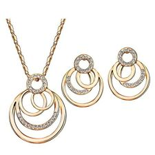 New Swarovski Crystal Element Rhinestones Circle Jewellery Set Necklace Earrings