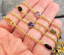 *Clearance* 925 Silver Gold Overlay AMETHYST GARNET PERIDOT Station Necklace 31""