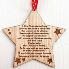 In Memory Star Decoration Tree Bauble Christmas Gift Wood - Memorial Quote
