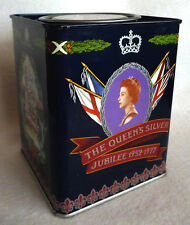"Jacksons of Piccadilly Tea Caddy ""The Queen's Silver Jubilee 1952-1977"" (empty)"