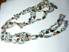 Vintage silver tone metal green blue pink purple glass fish star tassle necklace