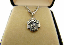 "MRT Solid Sterling Silver Jesus Head Medal Pendant 1/2"" with Chain Boxed Gift"