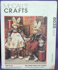 """Uncut McCalls Crafts Hop To It! 34"""" Bunny Rabbit Doll w/Clothes Pattern 8035"""