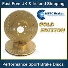 Toyota Celica 1.8 VVTi 99-02 Front Brake Discs Drilled Grooved Mtec GoldEdition
