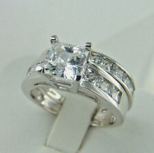 2.50ct Princess cut 14K White Gold Man Made diamond Engagement Ring size 7