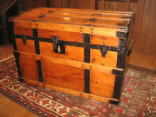 ANTIQUE RESTORED SEMI FLAT TOP STEAMER TRUNK STAGE COACH CHEST SLATS