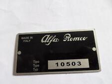 Typenschild Alfa Romeo schild tipo 105 10503 giulia Duetto spider 1600 S14
