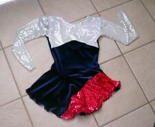 NEW Blue RED White SEQUIN Patriotic AMERICAN Figure ICE SKATING Dress 12/14 CXL