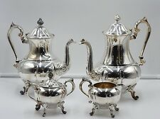 (x4) VINTAGE SHERIDAN SILVER ON COPPER COFFEE / TEA SERVICE SET SUGAR & CREAMER
