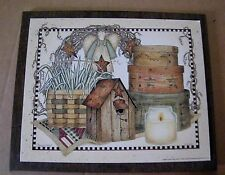9x11 Country primitive  Angel Wreath Birdhouse Barn Star Wall art Decor Sign