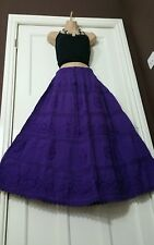 Cotton&Lace Embroidered PURPLE Gypsy Boho Festival 5 tier Skirt Plusize 14-22