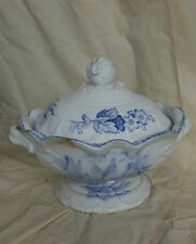 19th C Staffordshire Purple Transferware Tureen AMERICAN BIRDS Rare! Edwards