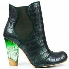 Irregular Choice Mind Games Boots Shoes size 10 Green Clear Resin Heel