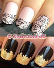 nail art set #121 french lace water transfers/decals/stickers & FREE GOLD LEAF