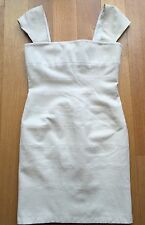 THE ROW Wool Ivory Cream Cap-Sleeve Bandage Bodycon Fitted Dress Sz 8