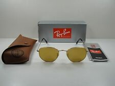 RAY-BAN HEXAGONAL FLAT SUNGLASSES RB3548N 001/93 GOLD/YELLOW FLASH LENS 51MM