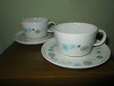 """Set of 2 Vtg FRANCISCAN pottery """"Del Mar"""" cups and saucers - Atomic decor MINT"""