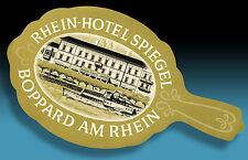 SCHÖNER ALTER KOFFERAUFKLEBER LUGGAGE LABEL 40er RHEIN HOTEL SPIEGEL BOPPARD