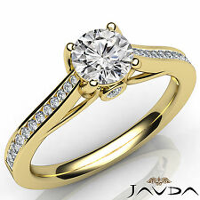 Round Diamond Engagement Unique Channel Set Ring GIA F VS1 18k Yellow Gold 0.8Ct