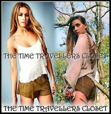 BNWT KATE MOSS Topshop Lightweight Soft Suede Leather Runner Shorts Brown UK 6 8