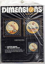 """1982 Dimensions Counted Cross Stitch # 3534 """"Country Chicken and Country Goose"""""""