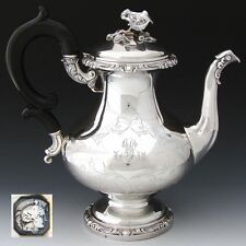Antique French Sterling Silver 44oz Coffee or Tea Pot, Ornate with Floral Finial