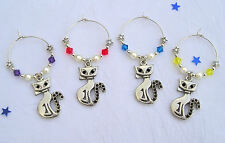 Stunning Set 6 Cat Wine Glass Charms. Swarovski Elements. Dinner Party,Hen Night