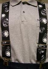 "Suspenders 2""x48"" FULLY Elastic Biker Skulls NEW"