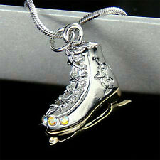 New w Swarovski Crystal 3D Ice figure Skating Shoes Skate Pendant Chain Necklace