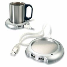 USB Tea Coffee Cup Mug Warmer Heater Pad with 4 Port USB Hub PC Laptop Chocolate