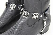 New Men Western Big Iron Cross Silver Boot Chain Pair Black Straps Shoe Bracelet